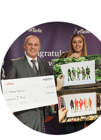 ArtTastic winners receiving cheque