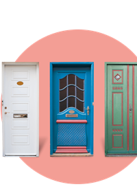 Three coloured doors