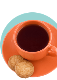 Orange cup of tea with two biscuits